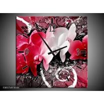 Wandklok op Canvas Orchidee | Kleur: Roze, Wit, Zwart | F005754C