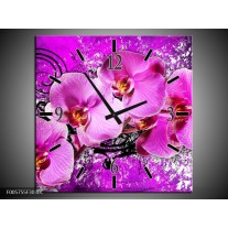 Wandklok op Canvas Orchidee | Kleur: Paars | F005755C