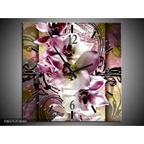 Wandklok op Canvas Orchidee | Kleur: Paars, Wit | F005757C