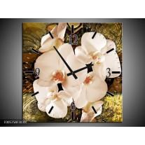 Wandklok op Canvas Orchidee | Kleur: Bruin, Goud, Creme | F005758C