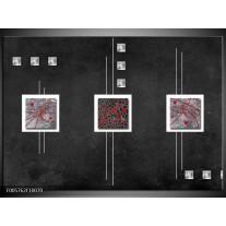 Foto canvas schilderij Vierkant | Grijs, Zwart, Rood