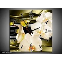 Wandklok op Canvas Orchidee   Kleur: Groen, Creme   F005768C