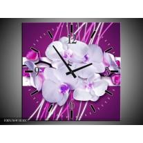 Wandklok op Canvas Orchidee   Kleur: Paars, Wit   F005769C