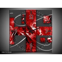 Wandklok op Canvas Art | Kleur: Rood, Grijs | F005771C