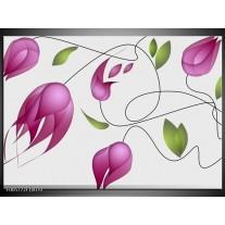 Foto canvas schilderij Tulp | Paars, Groen, Creme