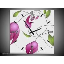 Wandklok op Canvas Tulp | Kleur: Paars, Groen, Creme | F005772C