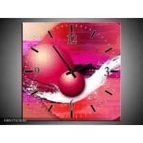 Wandklok op Canvas Cirkel | Kleur: Paars, Roze | F005775C
