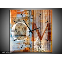 Wandklok op Canvas Home | Kleur: Bruin | F005778C