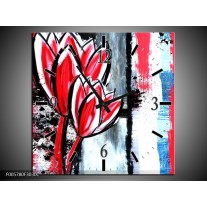 Wandklok op Canvas Tulp | Kleur: Rood, Zwart, Wit | F005780C