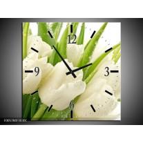 Wandklok op Canvas Tulpen | Kleur: Wit, Groen | F005784C