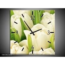 Wandklok op Canvas Tulpen | Kleur: Wit, Groen | F005785C