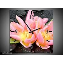 Wandklok op Canvas Lelie   Kleur: Roze, Zwart   F005786C