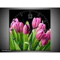 Wandklok op Canvas Tulpen | Kleur: Roze, Zwart, Groen | F005788C