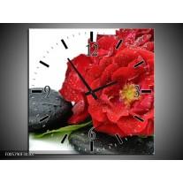 Wandklok op Canvas Roos   Kleur: Rood, Zwart, Wit   F005790C