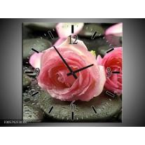 Wandklok op Canvas Roos | Kleur: Roze, Grijs | F005792C