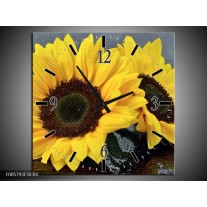 Wandklok op Canvas Zonnebloem | Kleur: Geel, Zwart | F005793C