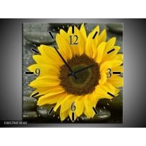 Wandklok op Canvas Zonnebloem | Kleur: Geel, Zwart | F005794C
