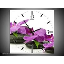 Wandklok op Canvas Orchidee | Kleur: Paars, Wit | F005796C