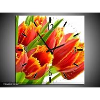 Wandklok op Canvas Tulpen   Kleur: Oranje, Groen, Wit   F005798C