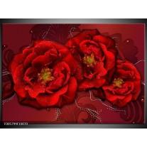 Foto canvas schilderij Bloem | Rood
