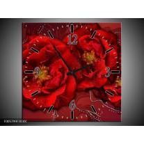 Wandklok op Canvas Bloem | Kleur: Rood | F005799C