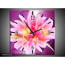 Wandklok op Canvas Modern | Kleur: Roze, Paars | F005803C
