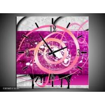 Wandklok op Canvas Modern   Kleur: Roze, Paars, Grijs   F005805C