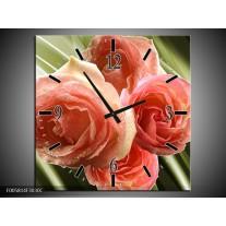 Wandklok op Canvas Roos | Kleur: Roze, Groen | F005814C