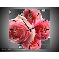Wandklok op Canvas Roos | Kleur: Roze, Grijs | F005815C