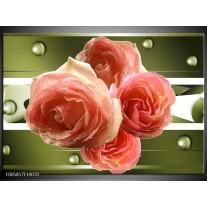 Foto canvas schilderij Roos | Groen, Roze
