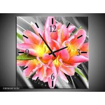 Wandklok op Canvas Modern | Kleur: Roze, Grijs, Geel | F005818C
