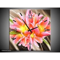 Wandklok op Canvas Modern | Kleur: Sepia, Roze, Geel | F005819C