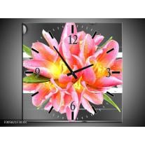 Wandklok op Canvas Modern | Kleur: Roze, Grijs | F005821C