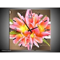 Wandklok op Canvas Modern | Kleur: Bruin, Roze | F005822C