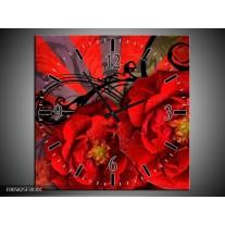 Wandklok op Canvas Modern | Kleur: Rood, Zwart | F005825C