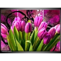 Foto canvas schilderij Tulpen | Paars, Groen, Roze