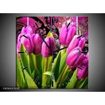 Wandklok op Canvas Tulpen | Kleur: Paars, Groen, Roze | F005826C