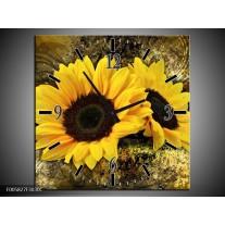 Wandklok op Canvas Zonnebloem | Kleur: Geel, Bruin, Goud | F005827C