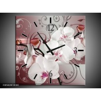 Wandklok op Canvas Orchidee | Kleur: Wit, Grijs | F005828C