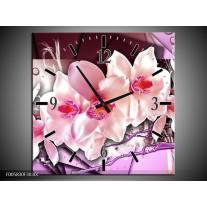 Wandklok op Canvas Orchidee | Kleur: Paars, Roze, Wit | F005830C