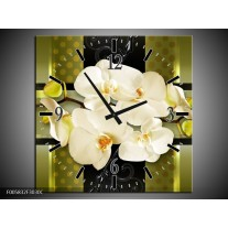 Wandklok op Canvas Orchidee | Kleur: Groen | F005832C