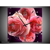 Wandklok op Canvas Roos   Kleur: Paars, Roze   F005833C