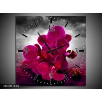 Wandklok op Canvas Orchidee   Kleur: Rood, Grijs, Paars   F005848C