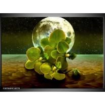 Foto canvas schilderij Orchidee | Groen, Goud, Bruin