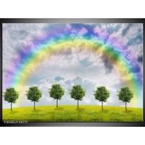 Foto canvas schilderij Bomen | Groen, Grijs, Paars