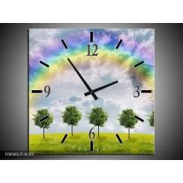 Wandklok op Canvas Bomen | Kleur: Groen, Grijs, Paars | F005852C