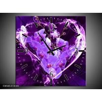 Wandklok op Canvas Orchidee   Kleur: Paars, Roze   F005853C