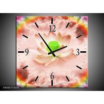 Wandklok op Canvas Lelie | Kleur: Roze, Groen | F005857C