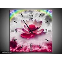 Wandklok op Canvas Lelie | Kleur: Roze, Grijs | F005858C