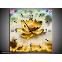 Wandklok op Canvas Lelie | Kleur: Goud, Grijs | F005860C